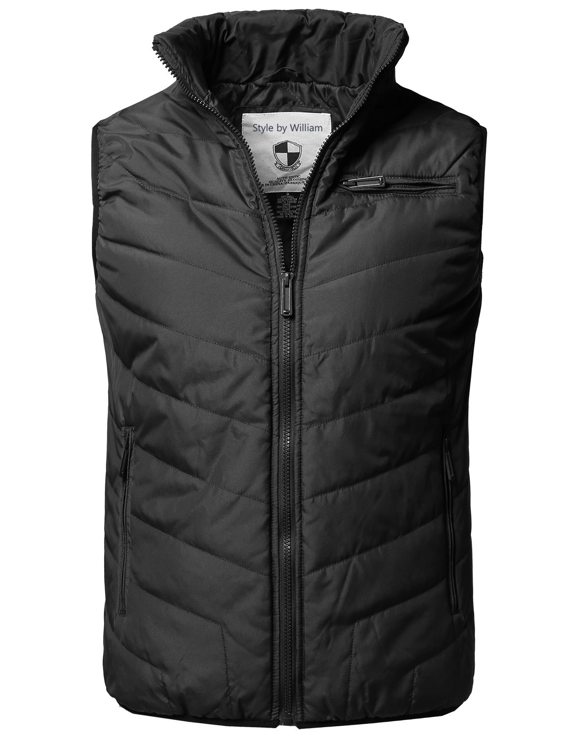 Style by William Solid Front Zip Up Outdoor Comfortable Padded Vest Outwear Jacket Black XL by Style by William