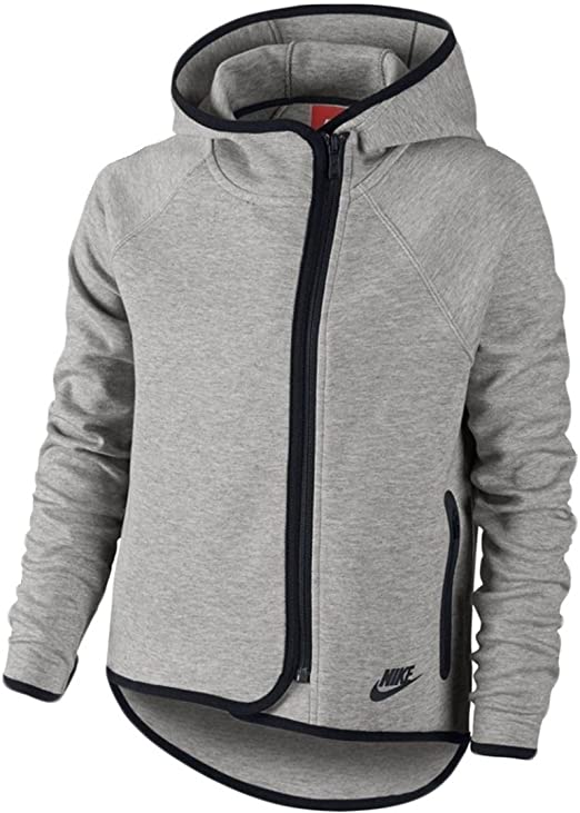 Amazon Com Girls Nike Tech Fleece Fz Cape Hoodie Grey Heather 669804 063 S Clothing