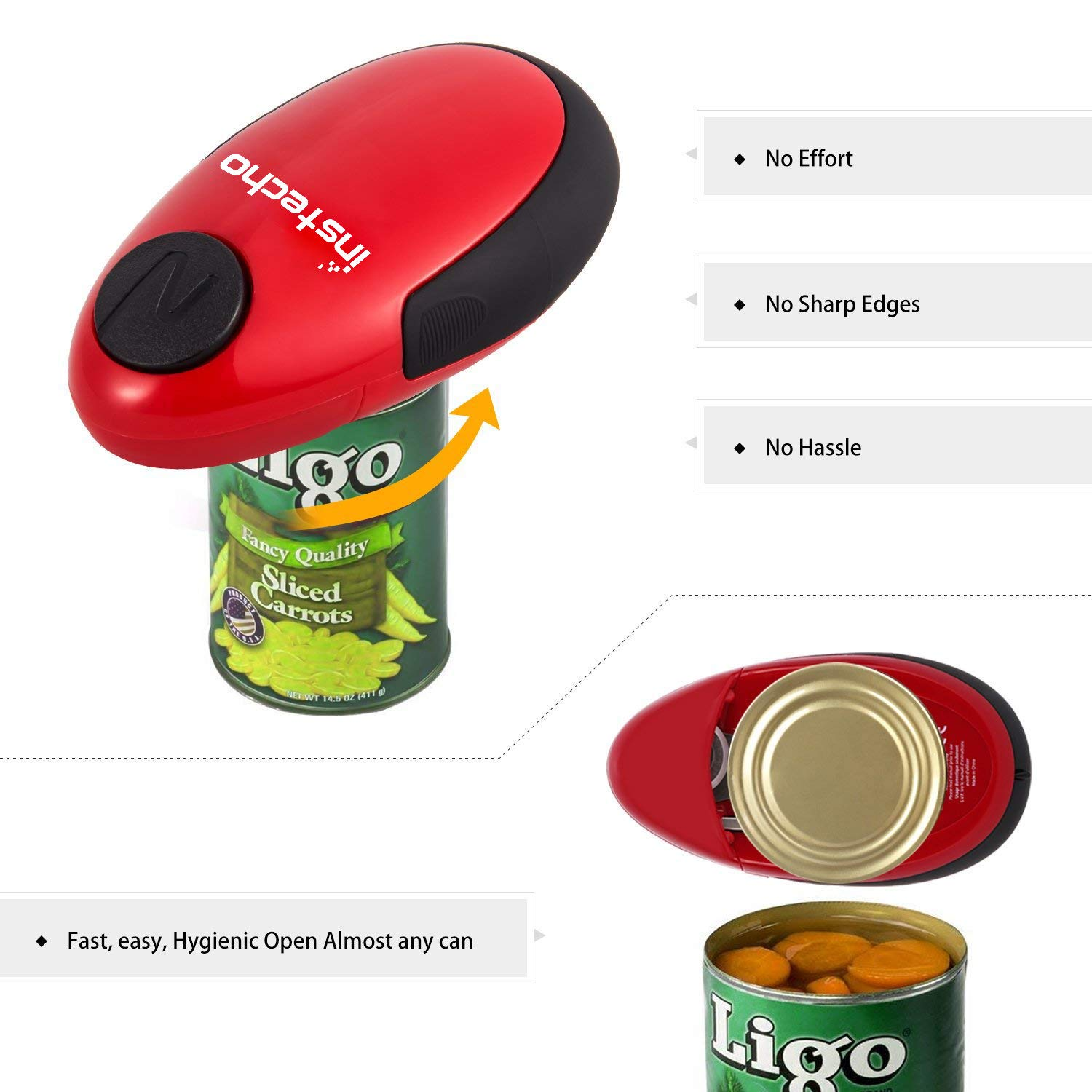 Electric Can Opener, Cakie Restaurant Can Opener Smooth Soft Edge One-touch Battery Automatic Electric Hands-free Can Opener For Kitchen Arthritis Elderly Travel and Chef's Best Choice's (Red) by instecho (Image #3)