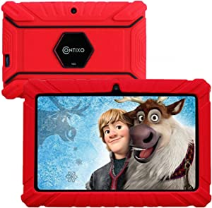 Contixo 7 Inch Kids Learning Android Tablet Parental Control 16GB for Home School Education - Google Certified Pre-Loaded Children Educational Apps - Child Proof Case - Great Gift for Toddlers (Red)