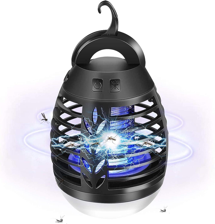AETKFO Lampara Antimosquitos Electrico, 2 en 1 Lampara Antimosquitos Exterior, Lámpara Antimosquitos USB Recargable para Acampar con Función de Iluminación, para Acampar, Senderismo, Jardín