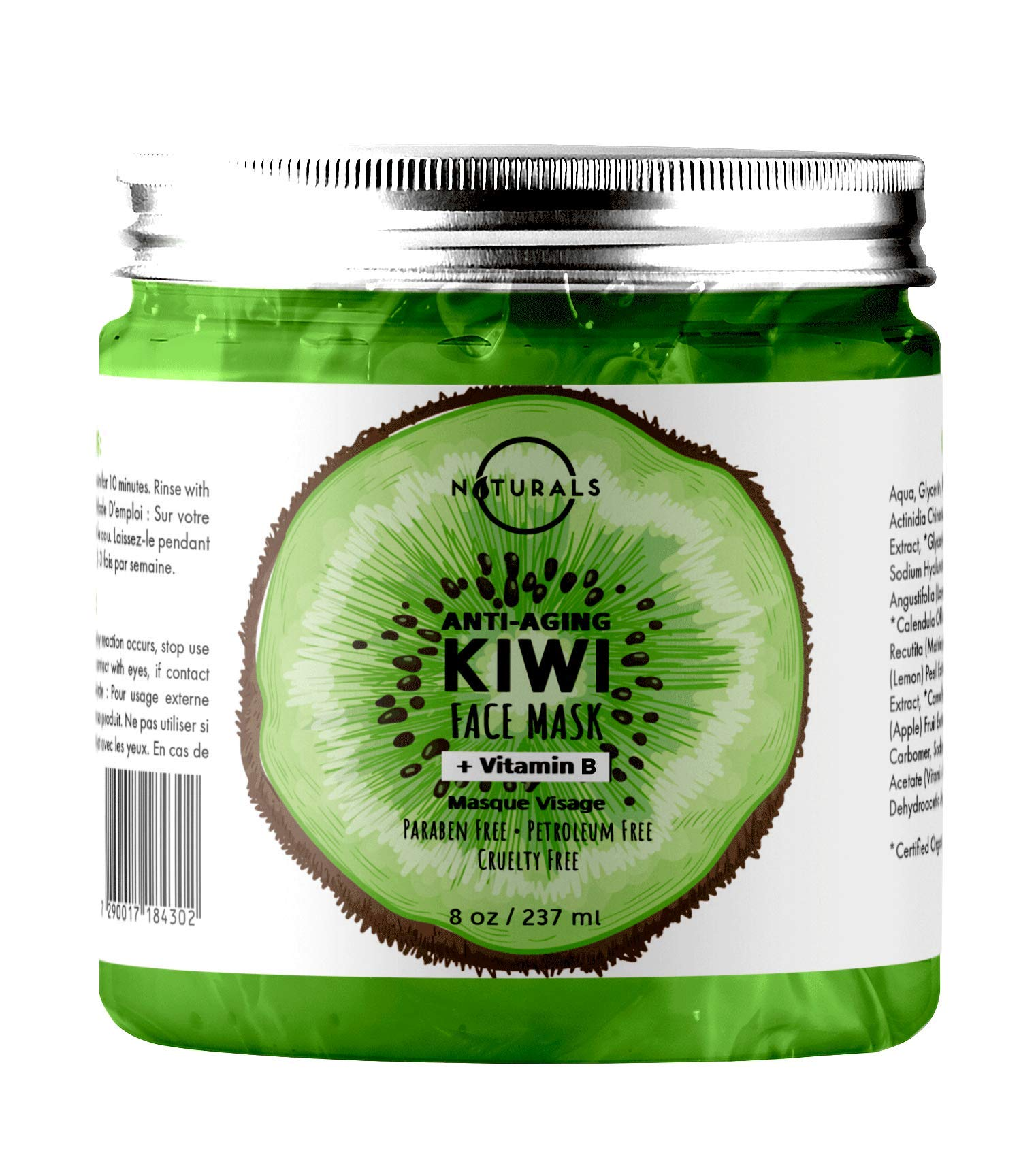 O Naturals Hydrating Kiwi & Cucumber Vitamin E Anti-Aging Gel Face Mask. Firms Skin. Reduces, Redness Sun Damage Wrinkles Scars Boosts Collagen & Moisturizes. Hyaluronic Acid Apple Spirulina Vegan 8oz by O Naturals