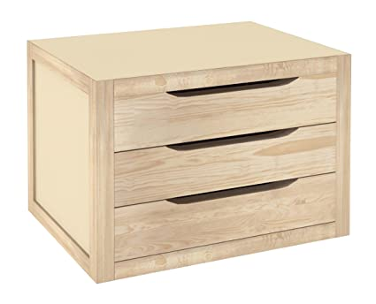 Cajonera de 3 cajones de madera, 39 x 30 x 29,5 cm, 1 unidad ...