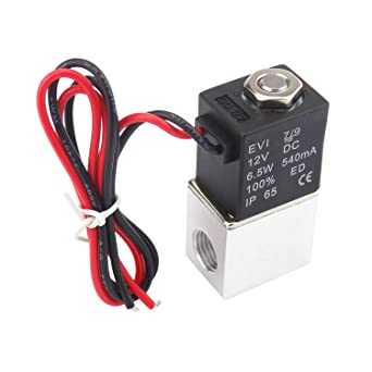 1//4inch DC 12V 2 Way Normally Closed Electric Solenoid Air Valve Plum Garden