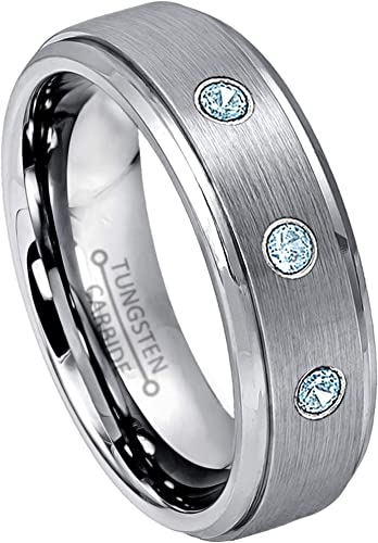 November Birthstone Ring 0.21ctw Citrin /& Diamond 3-Stone Anniversary Band 8mm Brushed Comfort Fit Dome Tungsten Carbide Ring Tungsten Wedding Ring