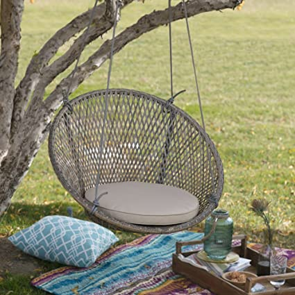 Resin Wicker Single Swing Chair With Seat Pad Rope Swinging For Outdoor  Porch Patio