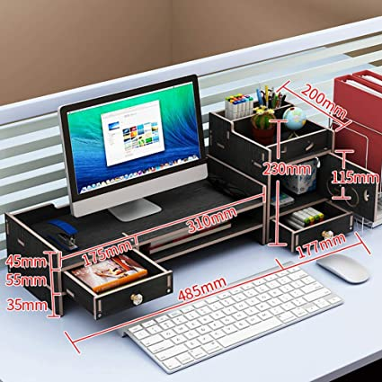 Soporte para monitor de madera con organizador de escritorio para almacenamiento de cajones televisor Soporte para monitor de computadora portátil Negro-c sin cerradura: Amazon.es: Oficina y papelería