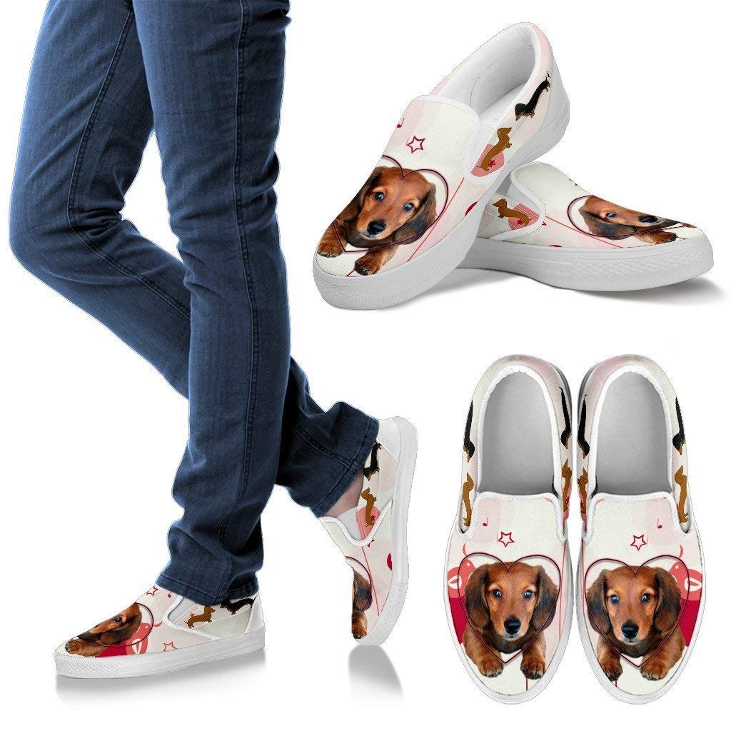 Pet Animal Designs Valentines Day Special Dachsund Print Slip Ons for Women