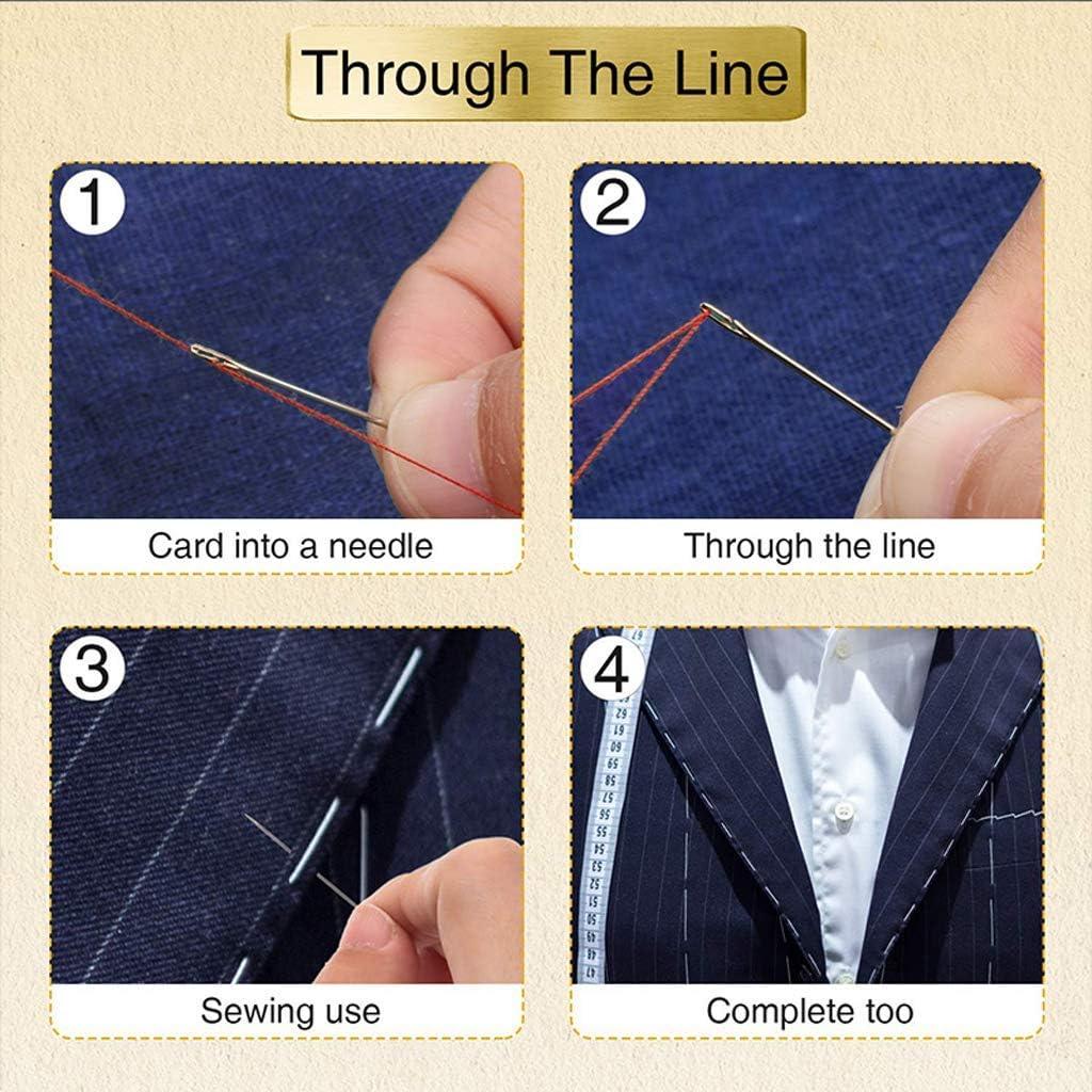 SNOWZAN 55 piezas de agujas de coser de acero inoxidable agujas de coser agujas de acero inoxidable agujas de aguja de aguja de madera caja demadera agujas autorroscable ojo grande coser hechas a mano