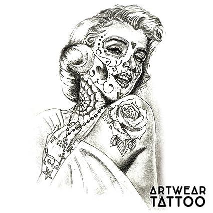 Temporary Tattoo Water Transfert Santa Muerte Marilyn Artwear