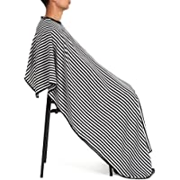 Cutting Hair Waterproof Cloth with Press Button Black and White Stripes, Yeefant Haircut Cloth Salon Barber Gown Cape Hairdressing Hairdresser
