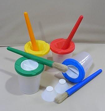 Childrens Paint Brush and Non-Spill Paint Pot Set 8 piece Set 4 ...