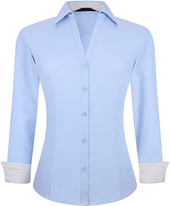 Alex Vando Womens Dress Shirts Wrinkle Free Regular Fit Long Sleeve Stretch Bamboo Work Shirt