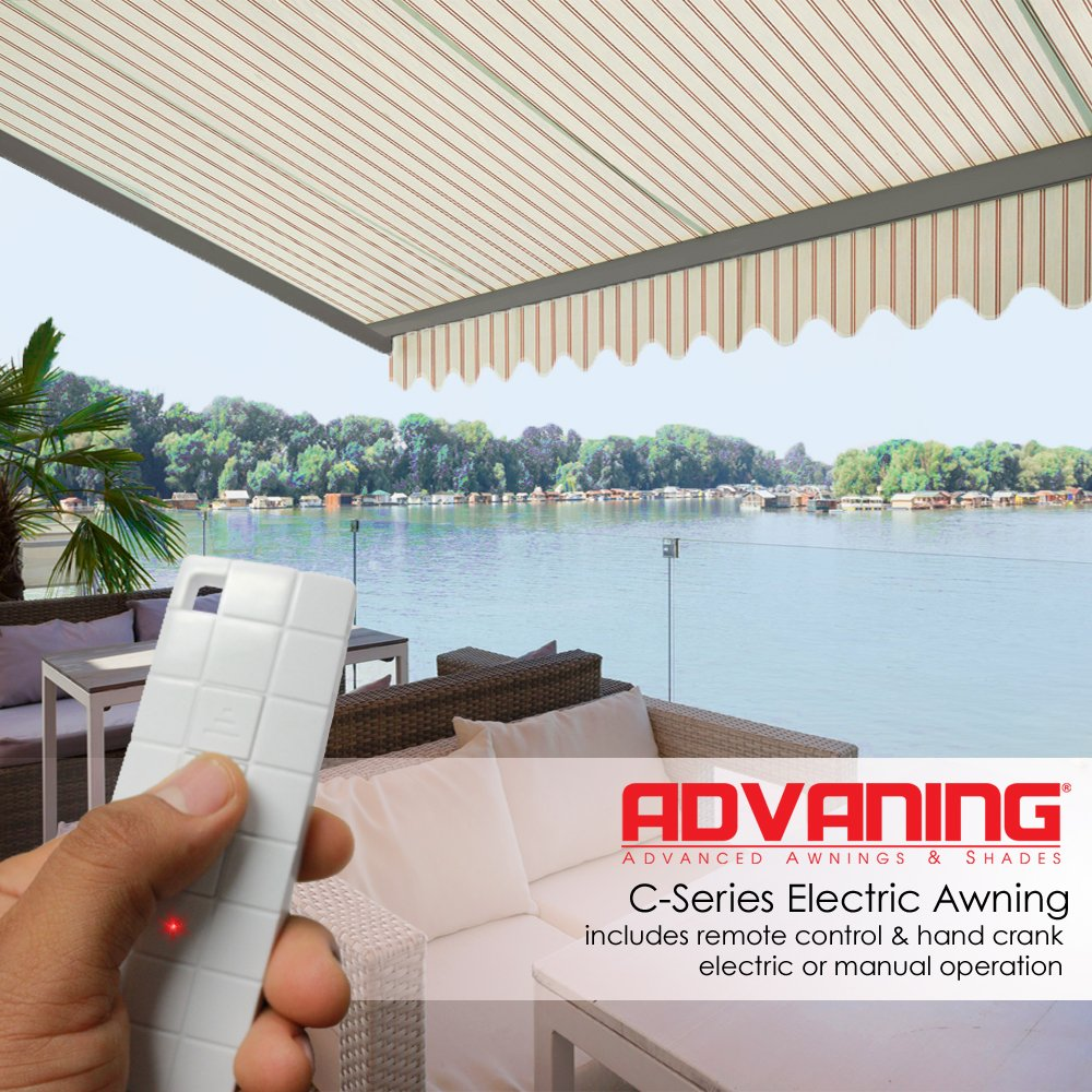 ADVANING Electric Classic C Series, 12'x10', Semi-Cassette Top Quality Window/Door Canopy Sun Shade Patio Retractable Awning, Natural Beige with Brick Red Stripes, Model: EA1210-A332H