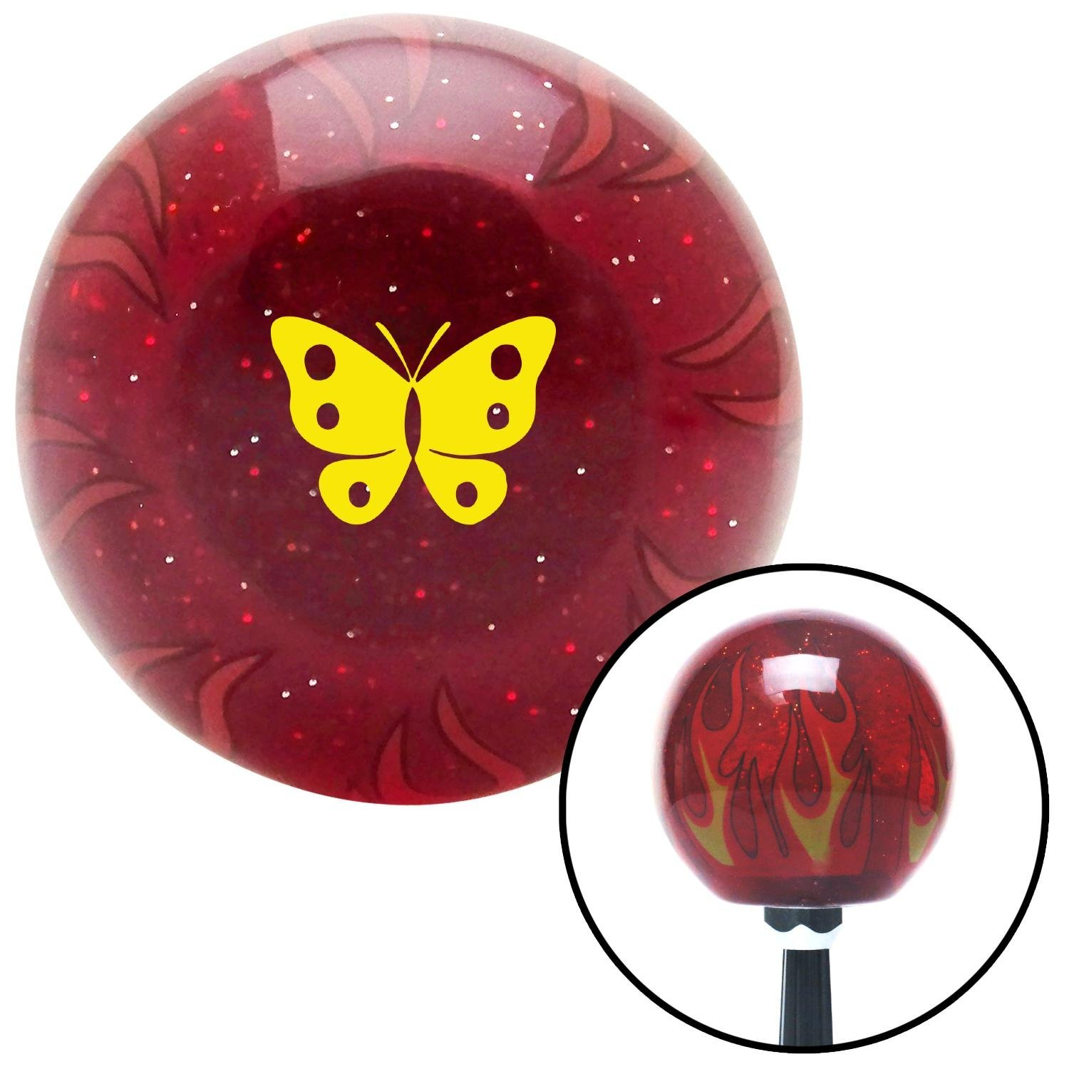 American Shifter 296444 Shift Knob Yellow Classic Butterfly Red Flame Metal Flake with M16 x 1.5 Insert