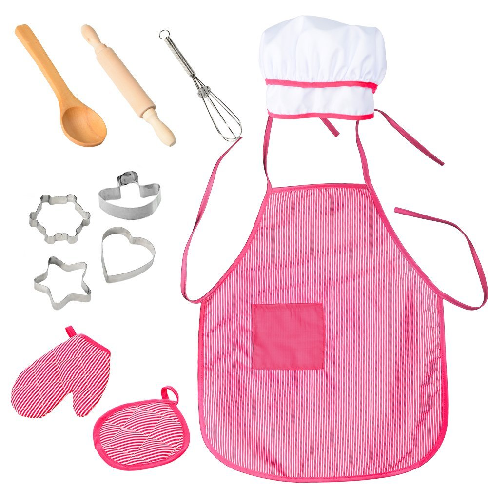 FunsLane Kids Apron and Chef Hat, Toddlers Easy Bake Oven Utensils, 11 Pcs Chef Set Cooking Accessories