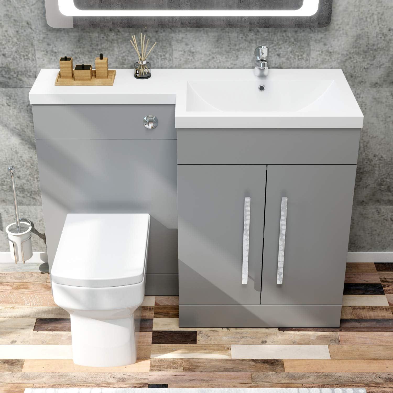 ELEGANT 4mm L Shape Bathroom Vanity Sink Unit Furniture Storage,Right  Hand Matte Grey Vanity unit + Basin + Ceramic Square Toilet with Concealed