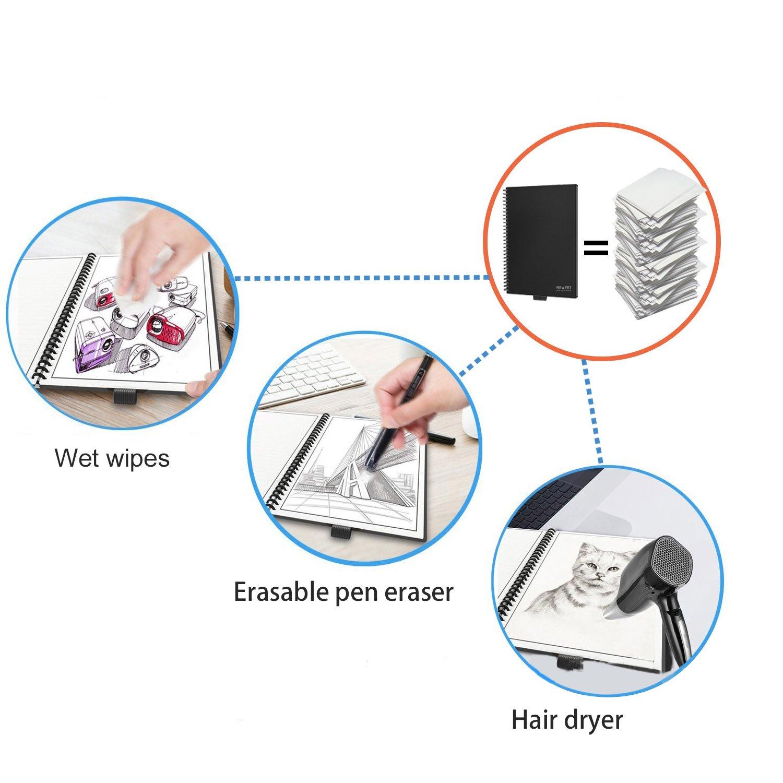 Beetest Notebook Everlast Cancellabile Riutilizzabile Intelligente con Panno Penna per Uomo Donna Studenti Pittura Apprendimento Lavoro Aziendale