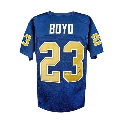 best service 0e1a3 96b63 Tyler Boyd Autographed Pitt Panthers Custom Blue Football ...