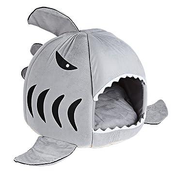 Cálida cama con forma de tiburón para perros y gatos, suave y lavable, cama para mascotas con cojín extraíble: Amazon.es: Productos para mascotas