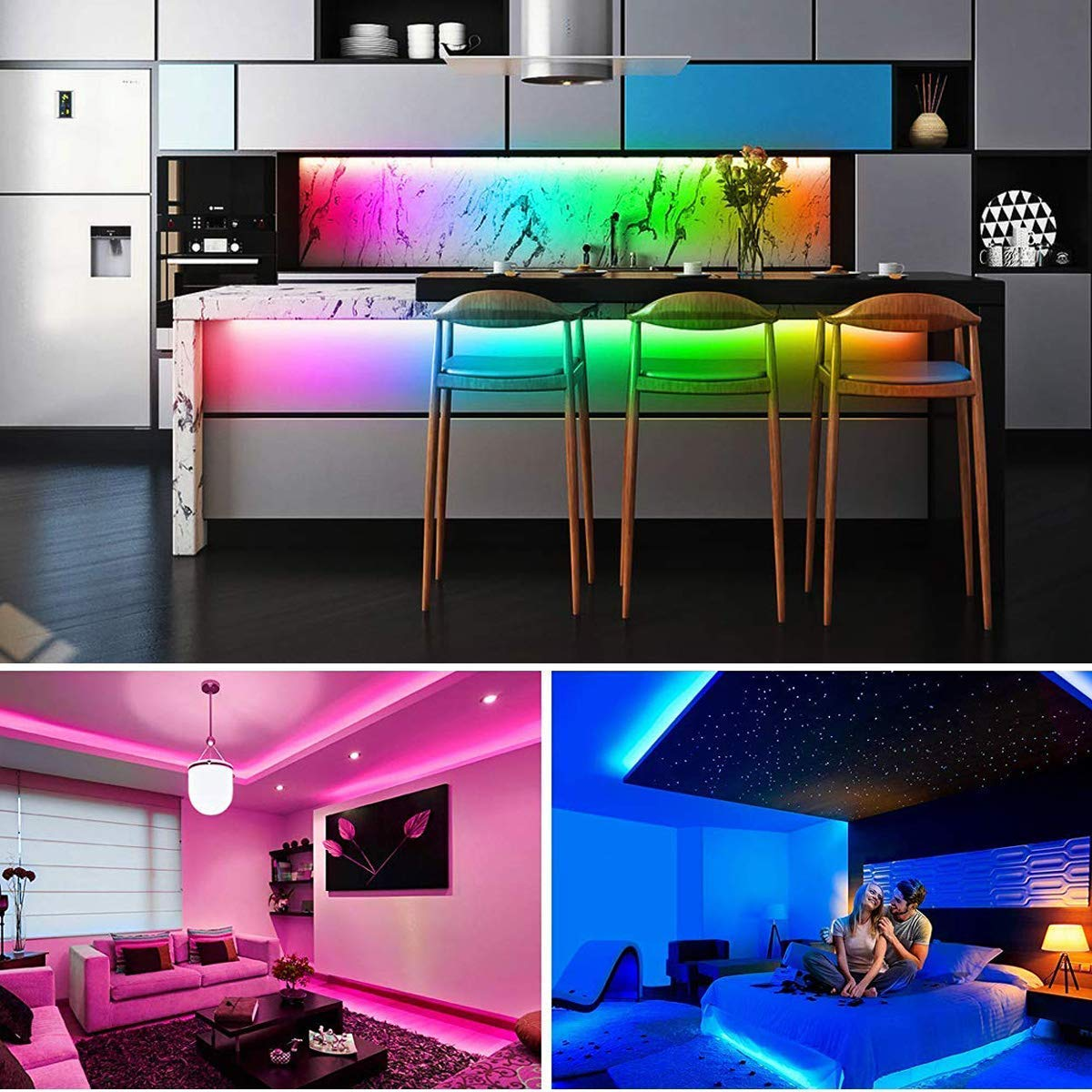 LED Strip Lights Music Sync, KDORRKU 32.8FT/10M Flexible Waterproof RGB LED Light Strips for Bedroom with Remote Color Changing Neon Lights 300LEDs 5050 Tape Rope Lights 12V for Room Mood Lighting by kdorrku