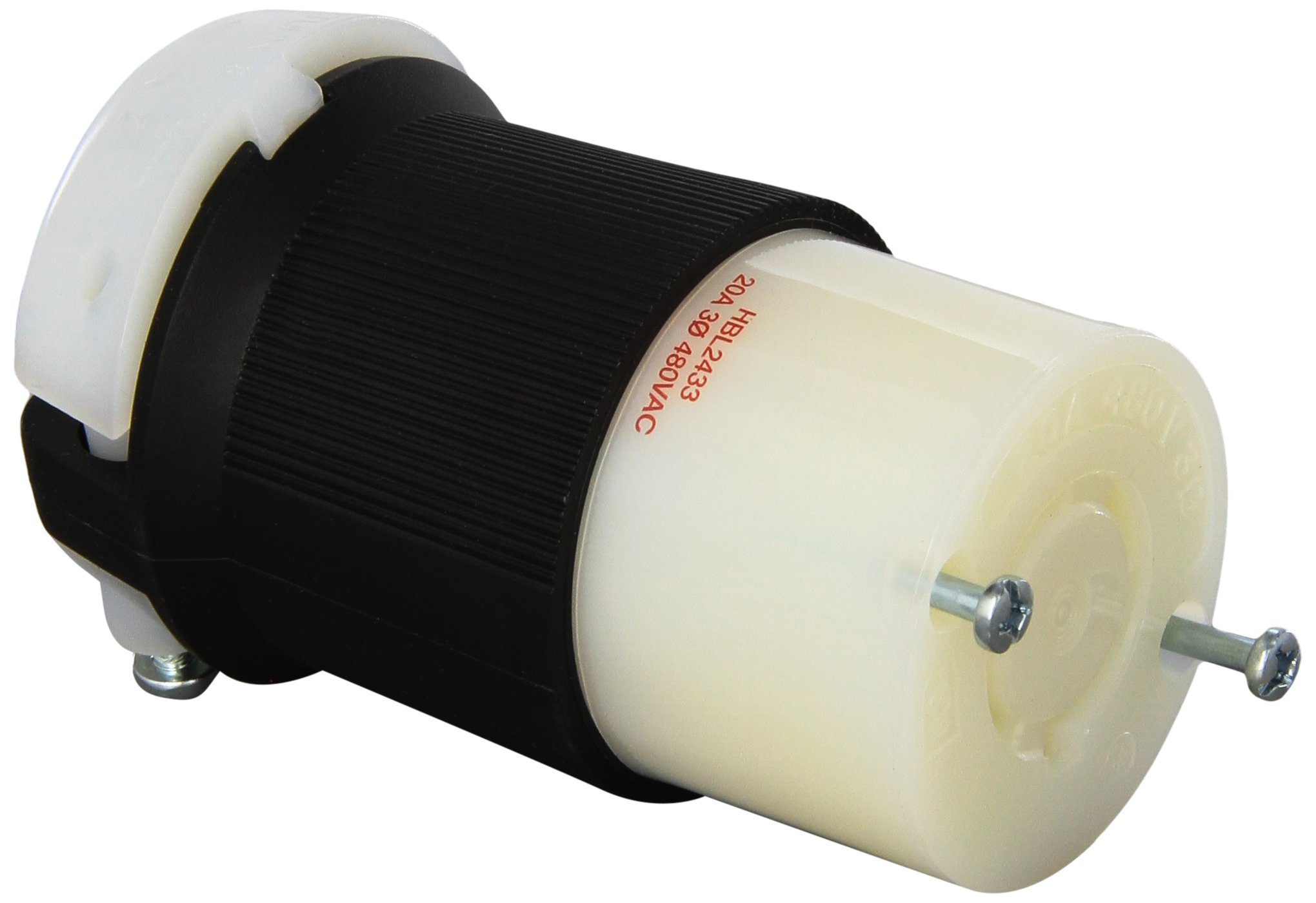 Hubbell HBL2433 Locking Connector, 20 amp, 3 Phase, 480V, L16-20R, Black and White