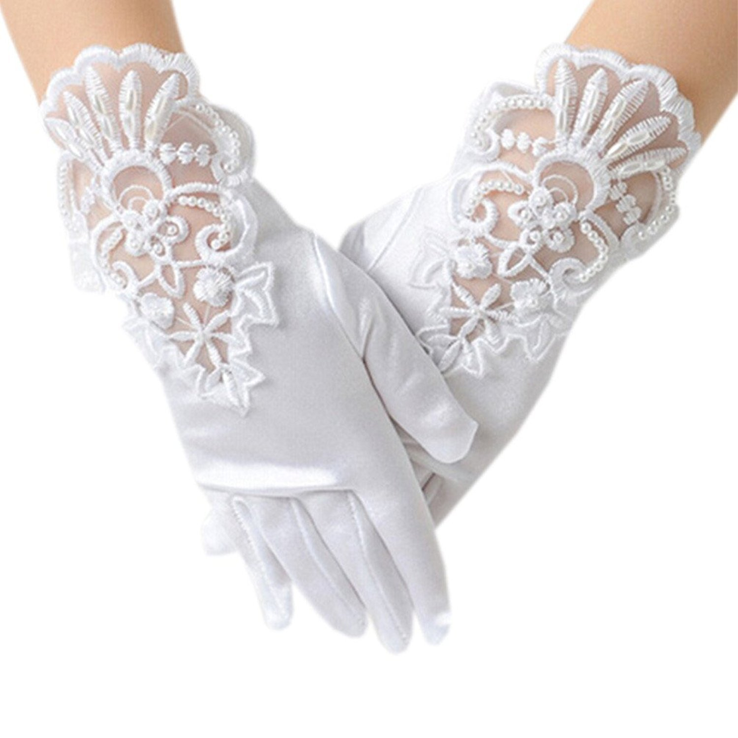 Jxsfly Flower Girls Short Gloves Lace Bowknot Gloves for Wedding Pageant Special Occasion (M, B)