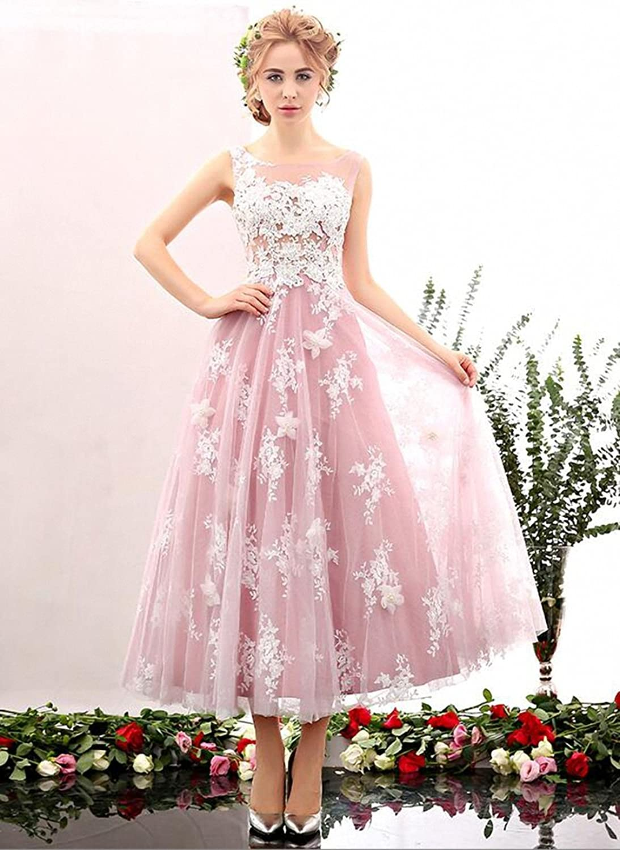 KekeHouse? Wedding Bridesmaid A-line Dress Applique Pearl Prom Dress Sleeveless Flower Girl's Child Dance Dress Pink
