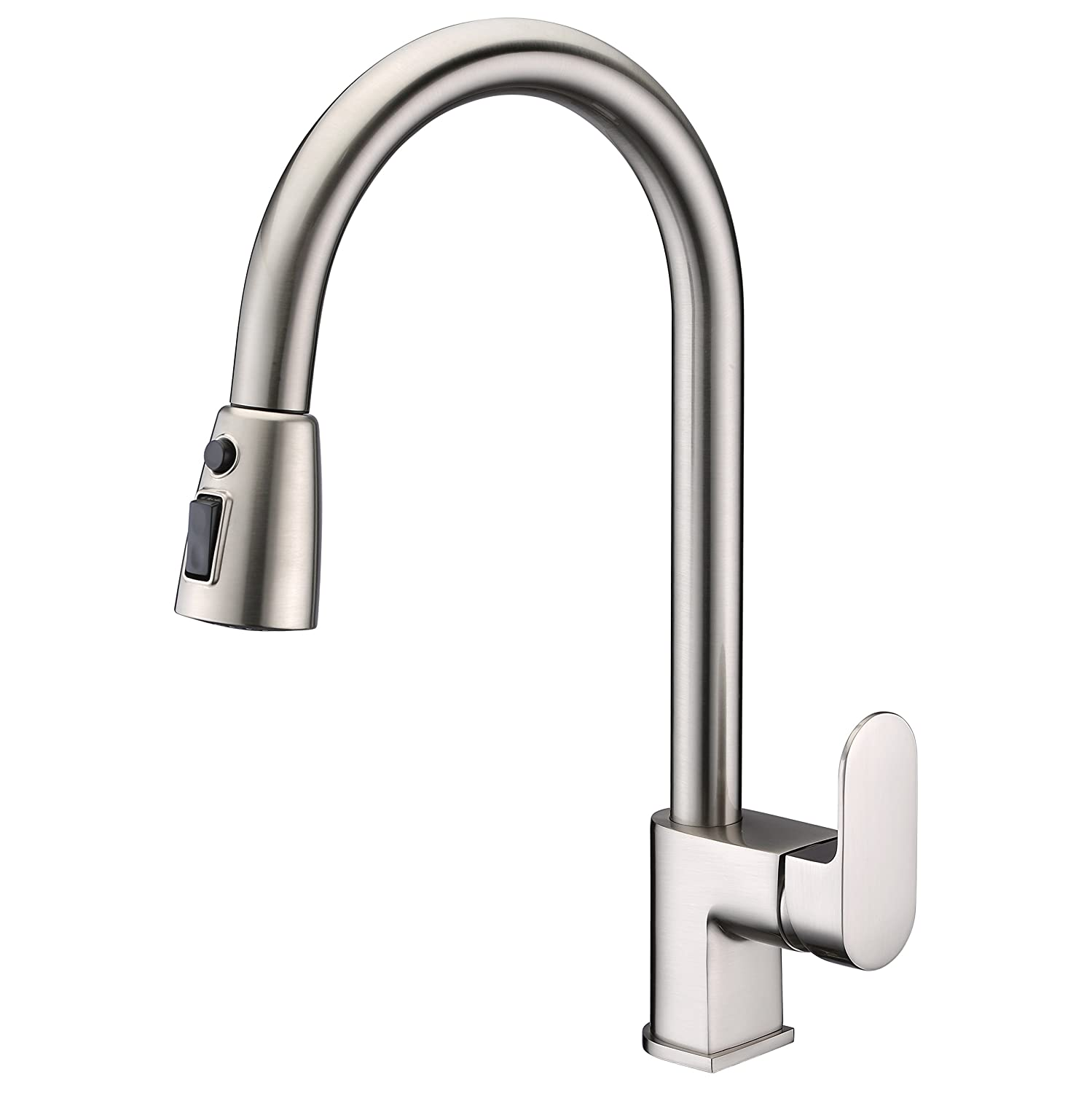 Kitchen Sink Faucet Brushed Nickel with Pull Out Sprayer Wenken Solid Brass Single Handle Pre-rinse Pull Down Kitchen Sink Faucet