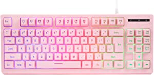 CQ87 Pink Gaming Keyboard USB Wired with Rainbow LED Backlit, Floating Keys, Ergonomic Silent Mechanical Feeling for Xbox, PS Series, Desktop, Computer, PC