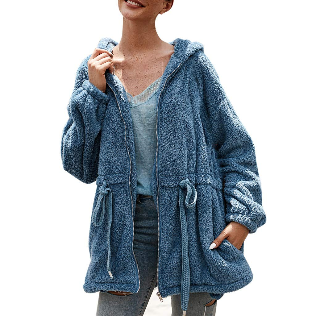 wuliLINL Women Fleece Hooded - Open Front Long Sleeve Fuzzy Sherpa Loose Warm Winter Pockets Coat Jacket Outwear(Blue,M) by wuliLINL