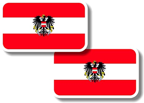 Vinyl sticker decal small 70mm austria flags pair