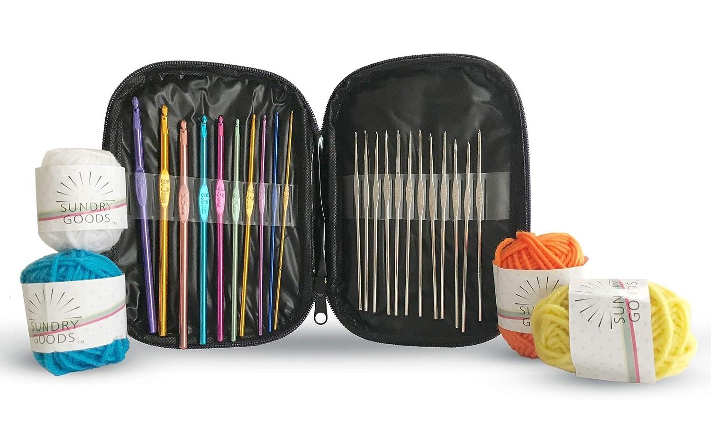 Crochet Hooks Set Aluminum Steel - 22-Piece Kit in Handy Case Organizer - Steel SZ: 0.6mm - 1.9mm | Aluminum SZ: 2.0mm - 6.5mm - Crochet All Yarn and Crochet Cotton Thread Projects - Smooth & Light We Sundry Goods