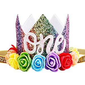 Maticr Baby Girl Glitter 1 2 3 First Birthday Rainbow Flower Crown Hat Floral Tiara Headband for Photo Prop (Letter One)