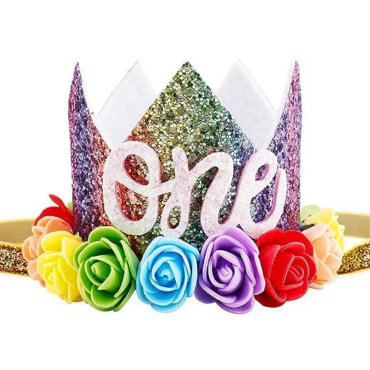 Maticr Baby Girl Glitter 1 2 3 First Birthday Rainbow Flower Crown Hat Floral Tiara Headband