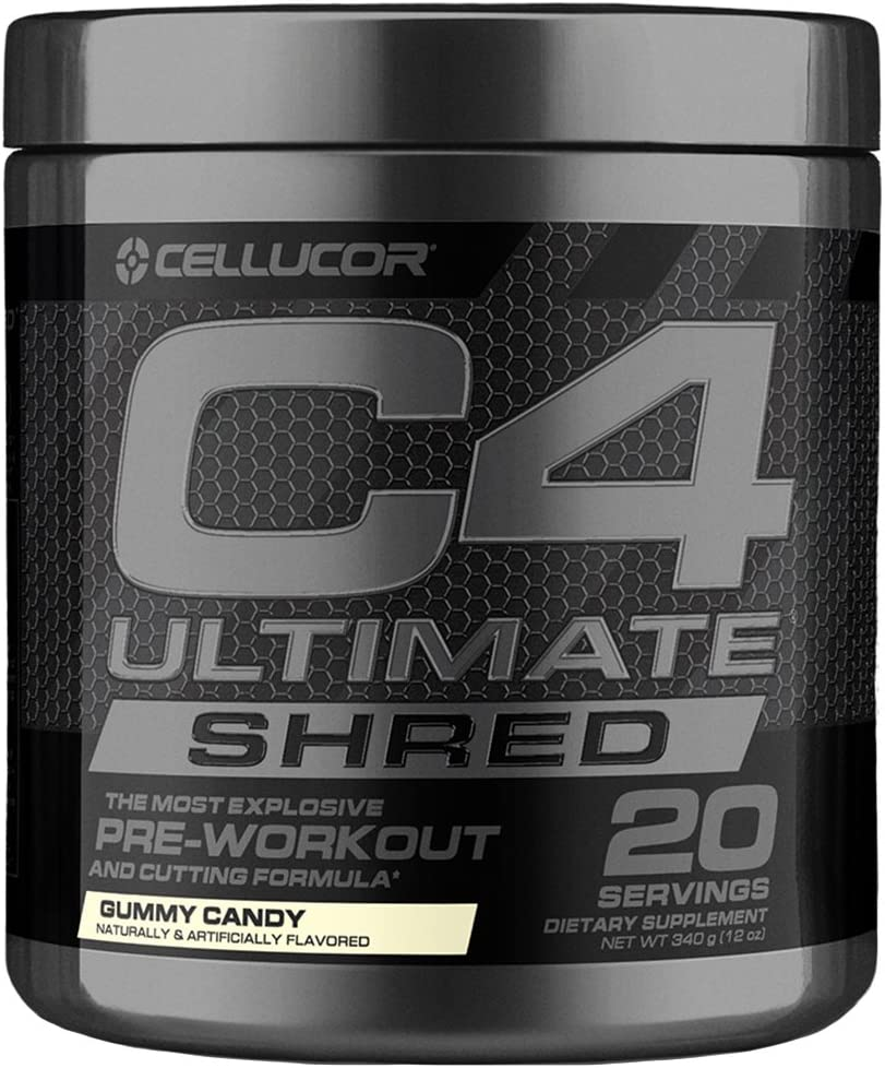 Cellucor C4 Ultimate Shred Pre Workout Powder, Fat Burner for Men & Women, Weight Loss Supplement with Ginger Root Extract, Icy Blue Razz, 20 Servings: Health & Personal Care