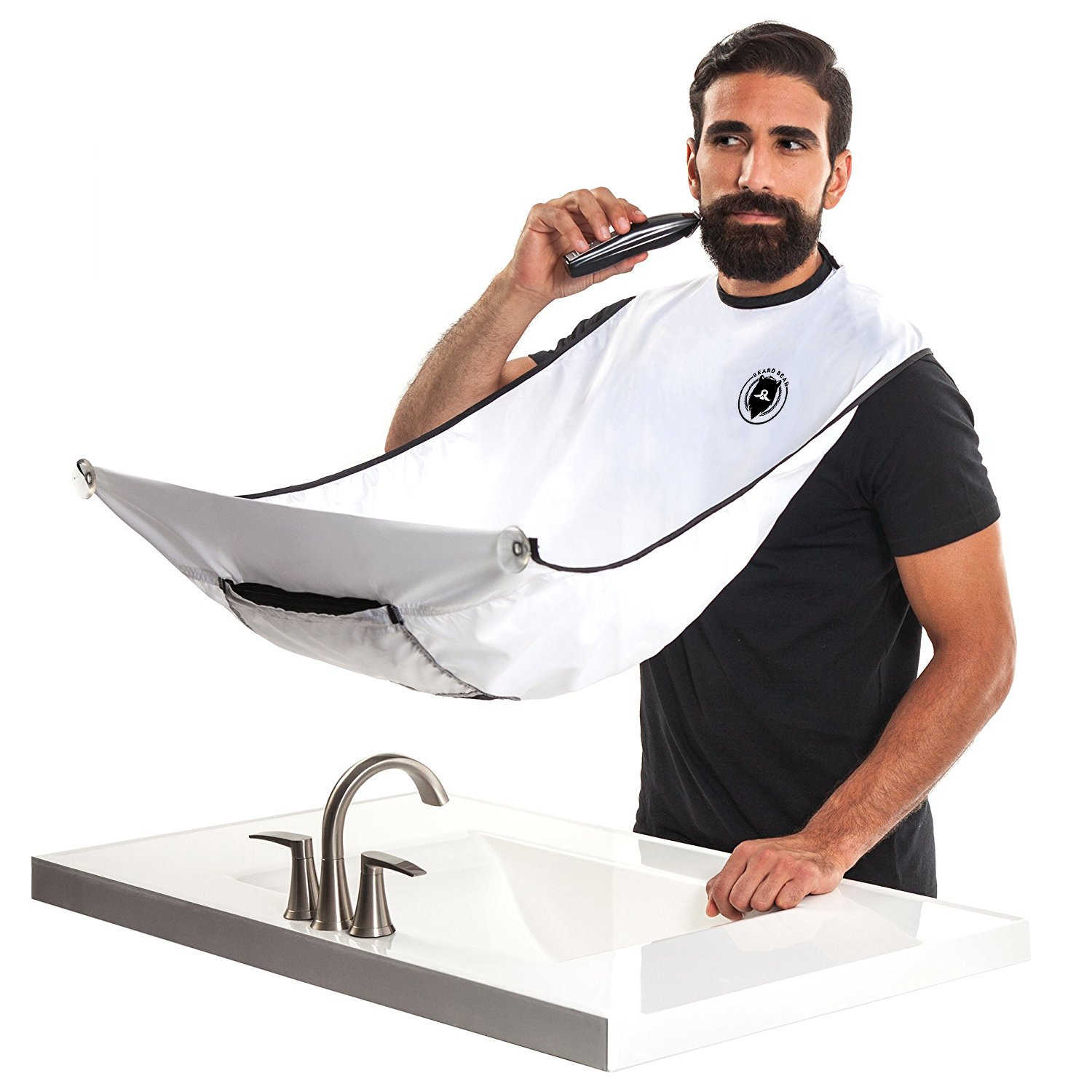BEARD BEAR Beard Bib Apron - Premium Apron for Trimming & Cutting Your Beard Without Mess - Men's Shaving Grooming Catcher Cape - Great Gift Idea for Men, White