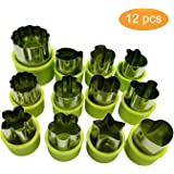 Vegetable Cutters Shapes Set, 12pcs Stainless Steel Mini Cookie Cutters, Vegetable Cutter and Fruit Mold Cheese Presses Cute Cartoon Animals Flower Star Shape Heart Stamps Decorating Tools for Kids