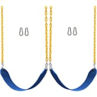 """Jungle Gym Kingdom 2 Pack Swings Seats Heavy Duty 66"""" Chain Plastic Coated - Playground Swing Set Accessories Replacement Snap Hooks (Blue)"""
