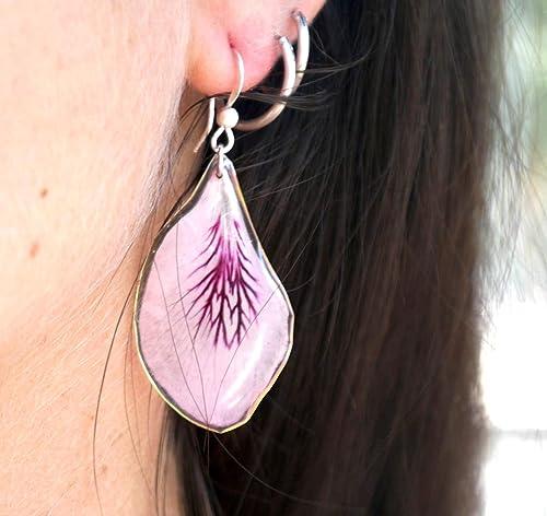 Pendientes pétalos de flor reales. Joyas resina hechas a mano. Piezas únicas.: Amazon.es: Handmade
