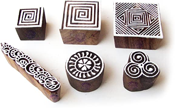 Paper Fabric Textile for DIY Henna Clay Pottery Block Printing Set of 5 Royal Kraft Spiral and Geometric Wooden Blocks for Printing