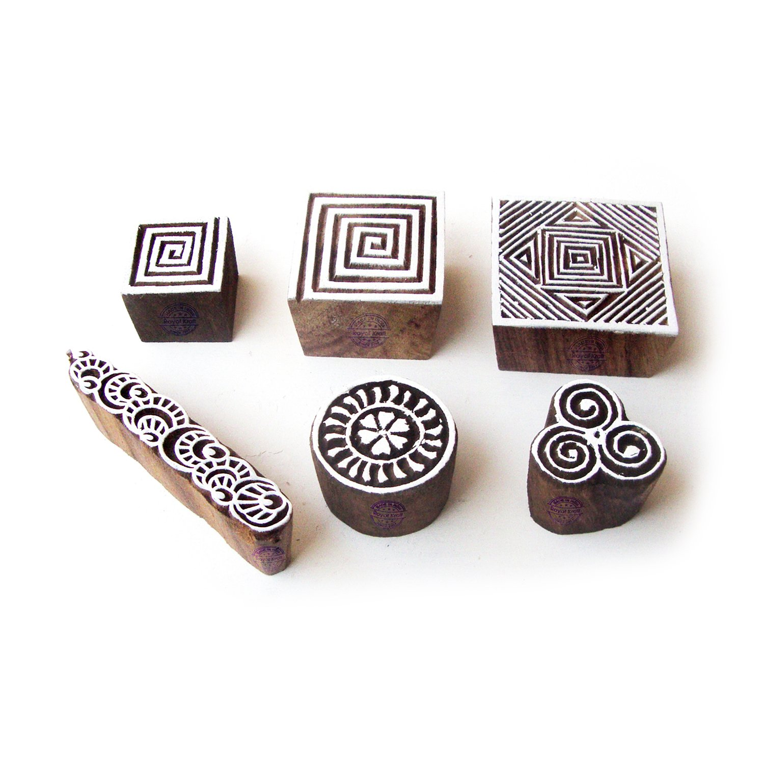 Spiral and Geometric Hand Carved Pattern Wooden Blocks for Printing (Set of 6)