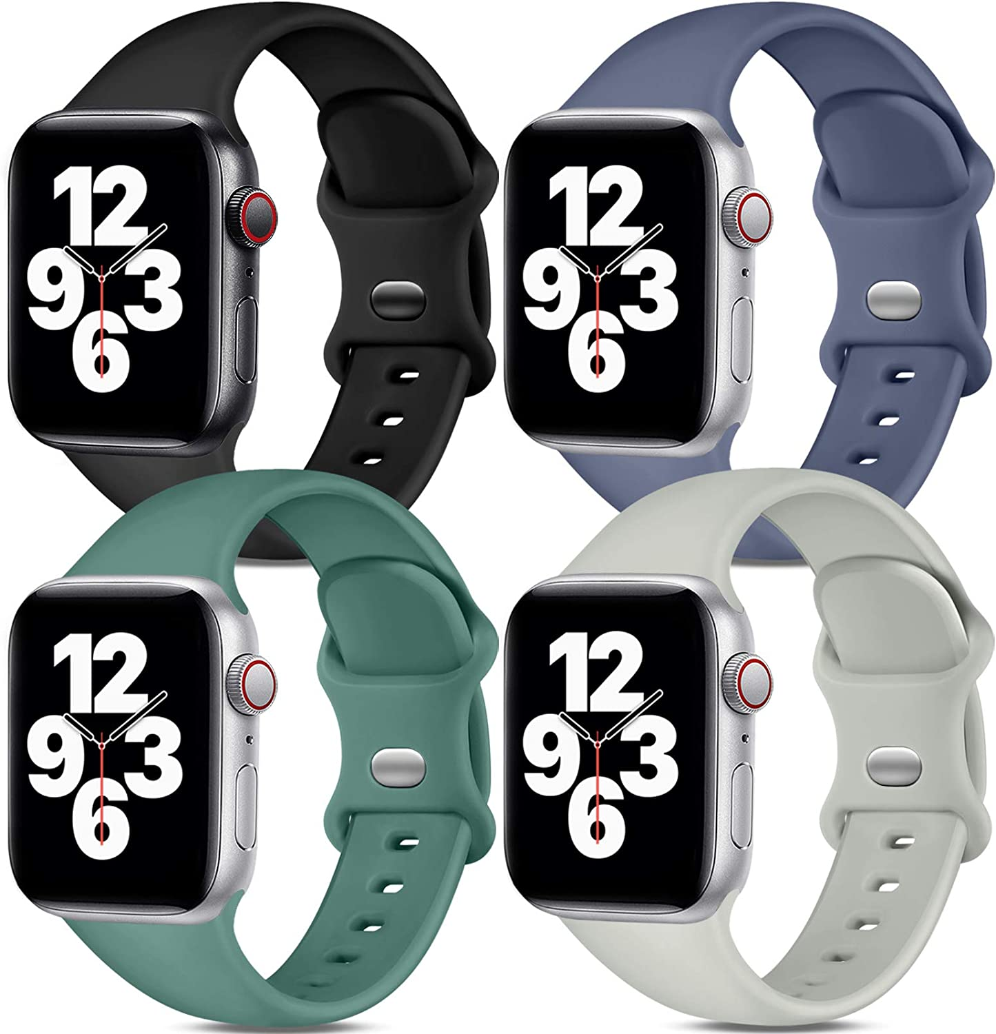 Dirrelo Band Compatible with Apple Watch Bands 38mm 40mm, [4-Pack] Soft Silicone Strap Wristbands for iWatch Series 3 5 6 4 2 1 SE Women Men, Small Black, Blue, Pine Green, Gray