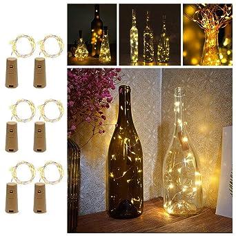 ENUOLI blanco cálido Luz de Navidad Cork 6 Pack 20 LEDs Spark botella de vino Luz ...