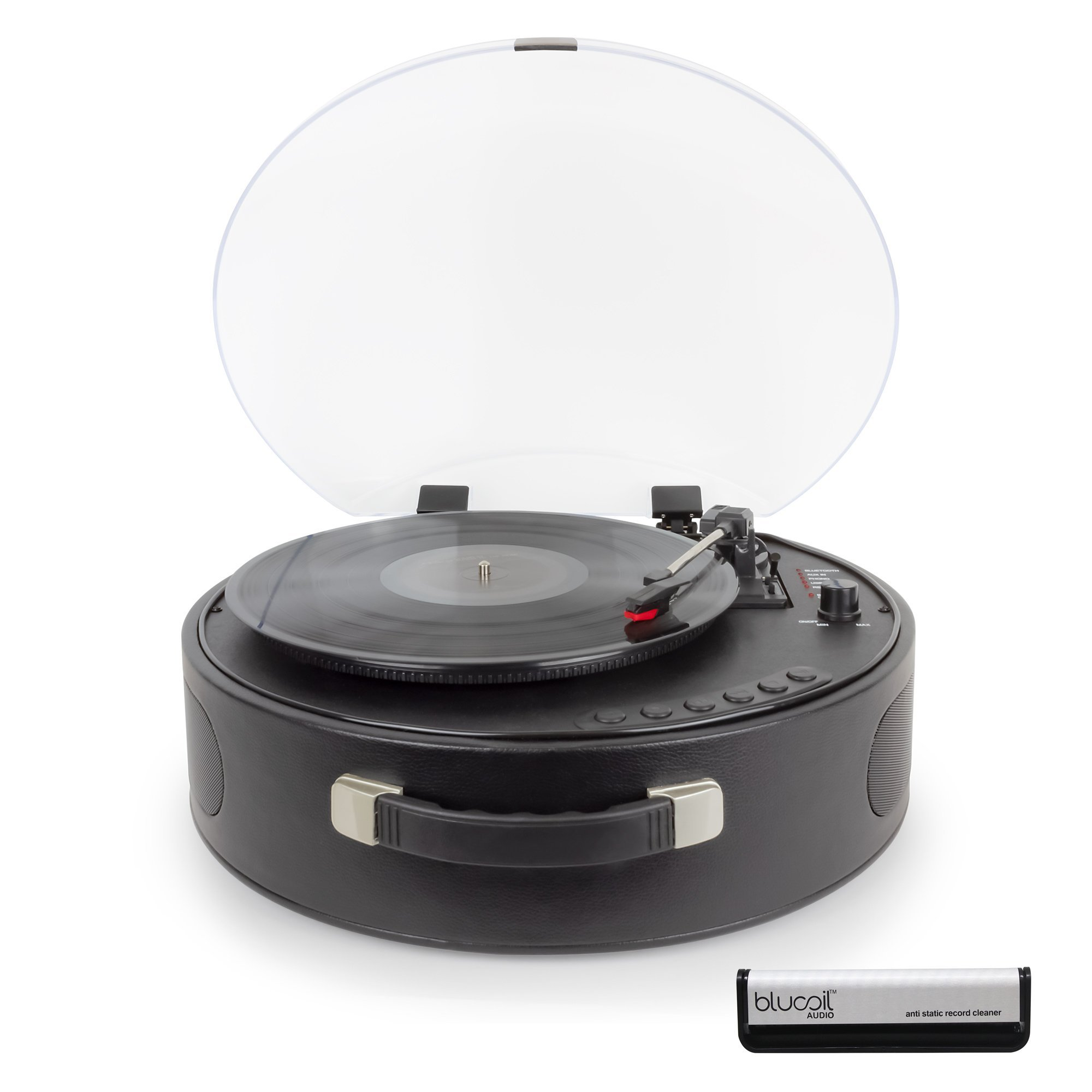 Rock N Rolla UFO Portable Turntable with Rechargeable Battery and Bluetooth for Vinyl Records with Built-in Speakers (Black) - INCLUDES - Blucoil Vinyl Brush
