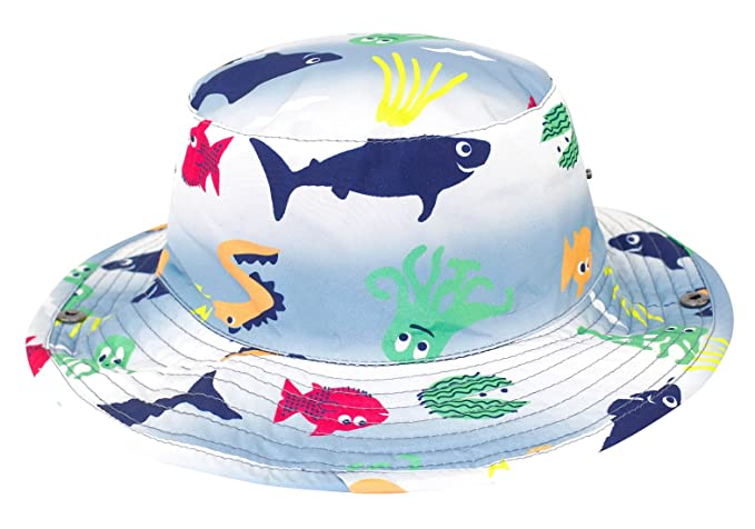 1610627fe Amazon.com: Kids Floppy Hat Printed UPF 50+ Sun Protection Wide Brim ...