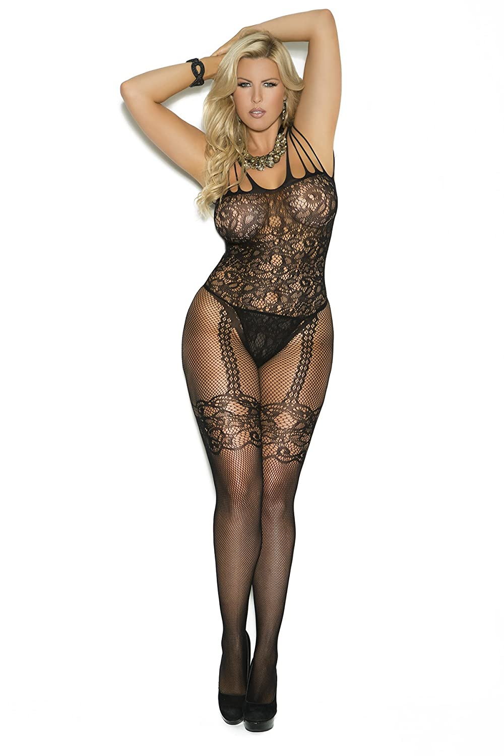Amazon.com: Sexy Women's Plus Size Lingerie Fishnet And Lace Open ...
