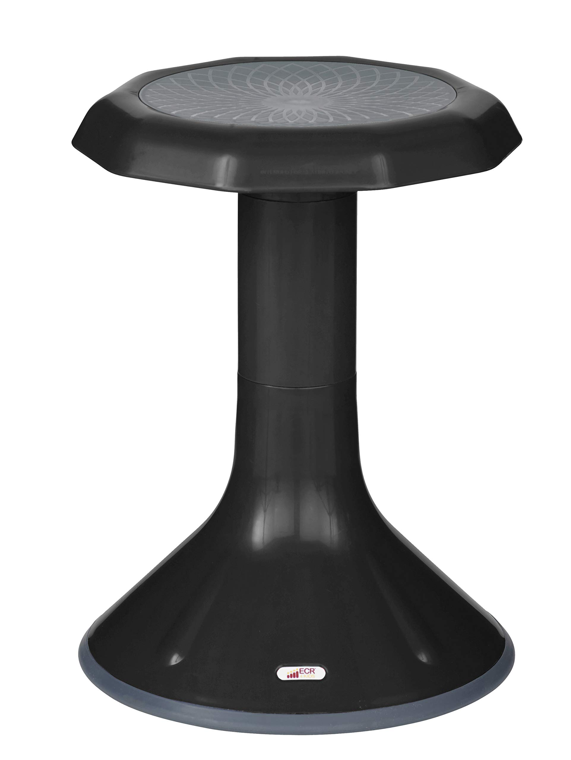 ECR4Kids ACE Active Core Engagement Wobble Stool for Kids, Flexible Classroom and Home Seating, 18'', Black by ECR4Kids