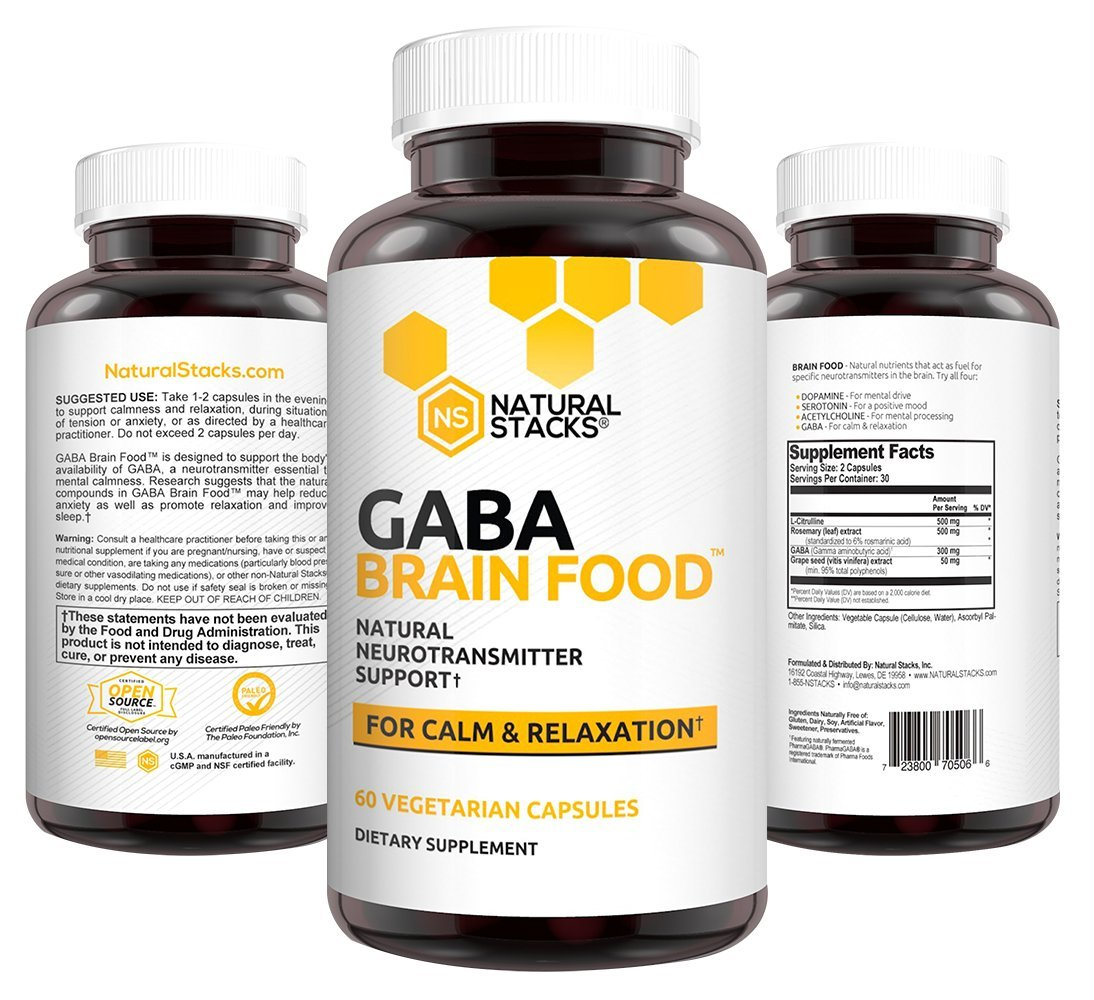 Natural Stacks: GABA Brain Food - Brain Supplement - 30 Day Supply - Maximum GABA Bioavailability Formula - Promotes Relaxation - Sleep Aid Alternative - Can Reduce Stress