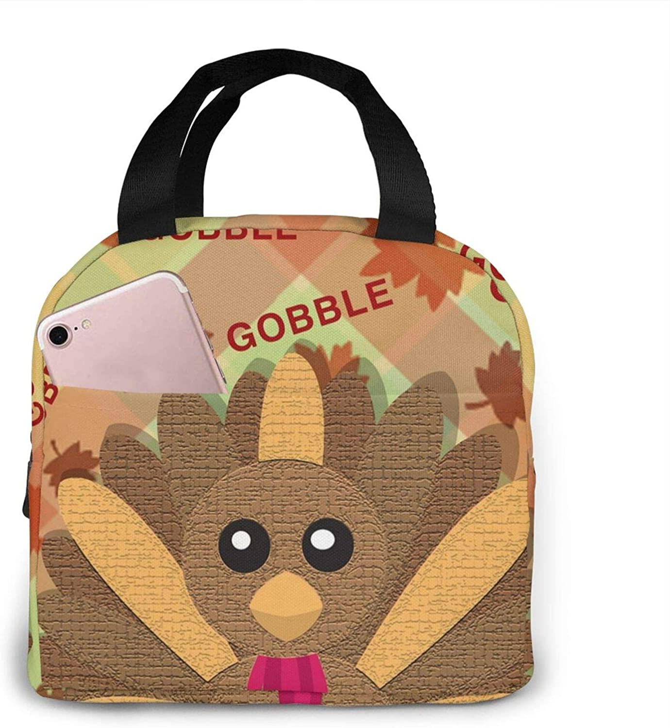Leakproof Insulated Lunch Tote Bag Happy Thanksgiving Gobble Lunch Bag Waterproof Reusable Food Cooler Bag Portable Lunch Box for Women Men Kids